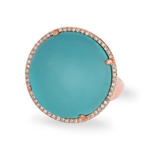 14KT Rose Gold Diamond Turquoise Round Cocktail Ring