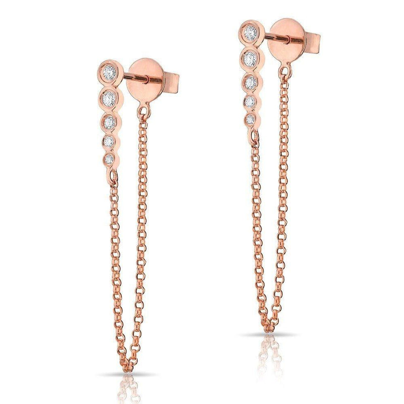14KT Rose Gold Diamond Bezel Bar Chain Stud Earrings