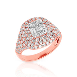 14KT Rose Gold Baguette Diamond Alexandrine Signet Ring