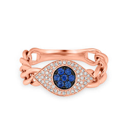 14KT Rose Gold Diamond Sapphire Evil Eye Chain Ring