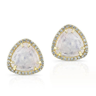 14KT Yellow Gold Moonstone Diamond Stud Earrings