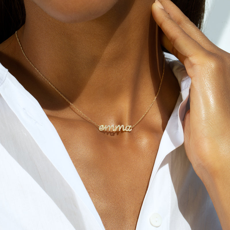 14KT Yellow Gold Diamond Personalized Name Necklace-Anne Sisteron