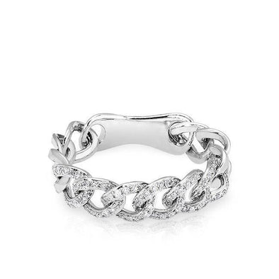 14KT White Gold Diamond Chain Link Light Ring