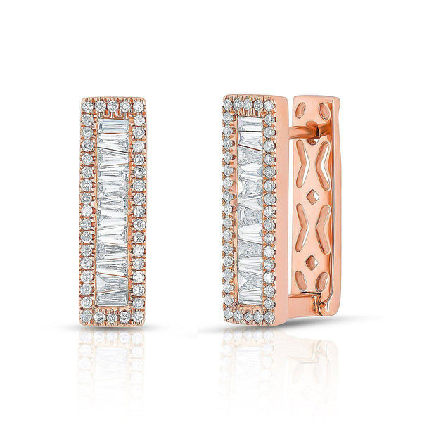 14KT Rose Gold Baguette Diamond Rectangle Honey Huggie Earrings