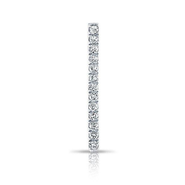 14KT White Gold Diamond Bar Ear Climber
