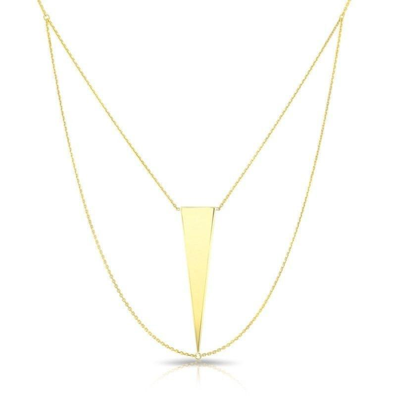 14KT Solid Yellow Gold Julia Triangle Necklace