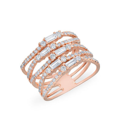 14KT Rose Gold Diamond Baguette Stacked Ring