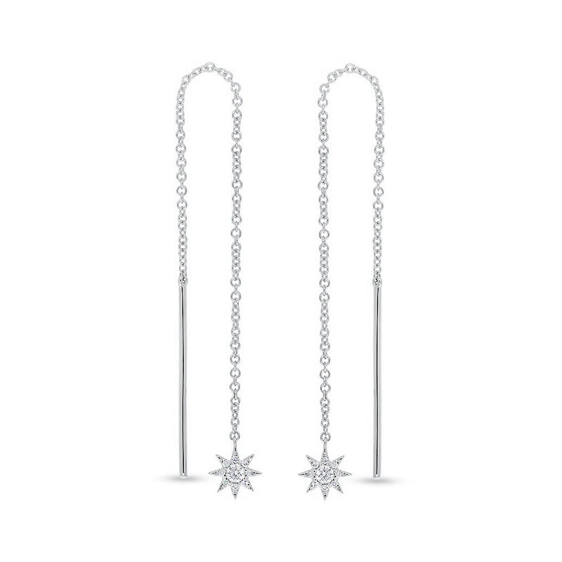 14KT White Gold Diamond North Star Threader Earrings
