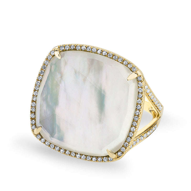 14KT Yellow Gold Mother of Pearl Diamond Doublet Ring