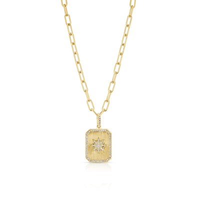 14KT Yellow Gold Diamond Star Charmed Pendant Necklace
