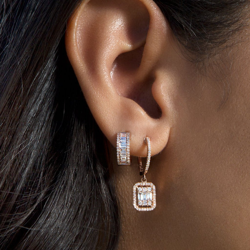 14KT Rose Gold Baguette Diamond Elle Huggie Earrings-Anne Sisteron