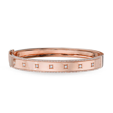 14KT Rose Gold Diamond Glisten Trimmed Bangle