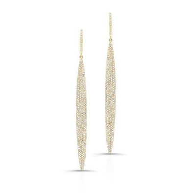 14KT Yellow Gold Diamond Long Stiletto Earrings