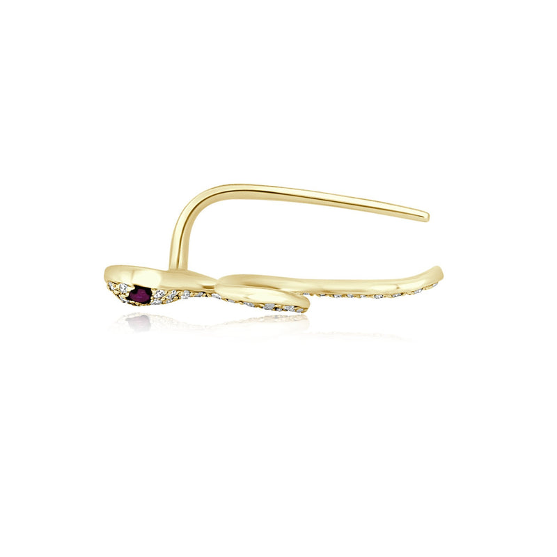 14KT Yellow Gold Pink Sapphire Diamond Snake Ear Climber-Anne Sisteron
