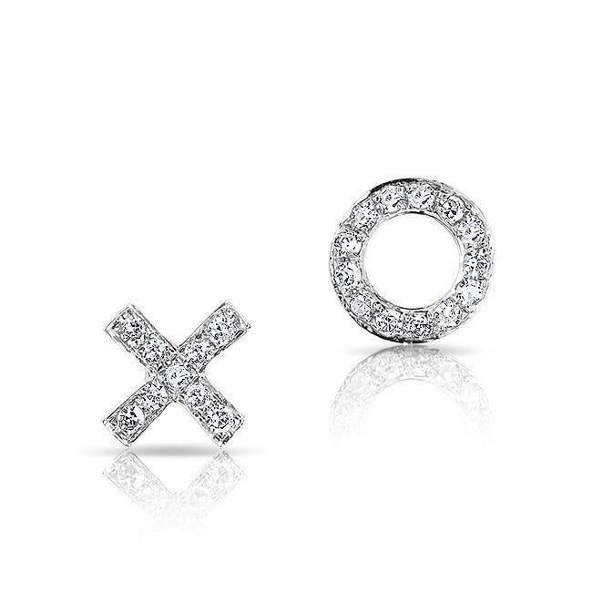 14KT White Gold Diamond Mini XO Stud Earrings