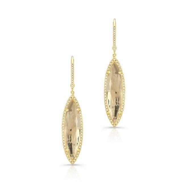 14KT Yellow Gold Diamond White Topaz Small Serena Marquis Earrings