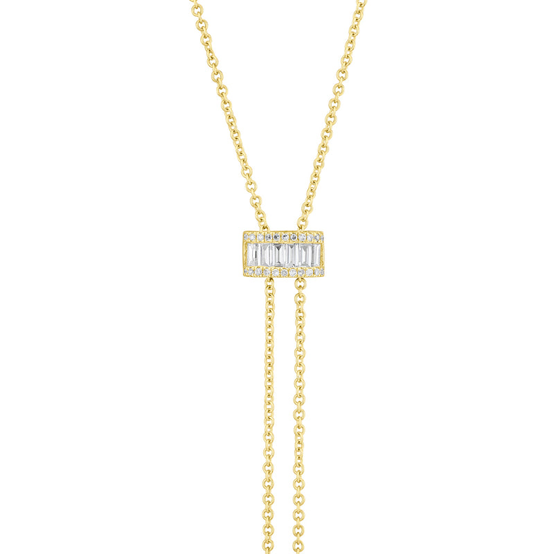 14KT Yellow Gold Baguette Diamond Kyla Bolo Necklace