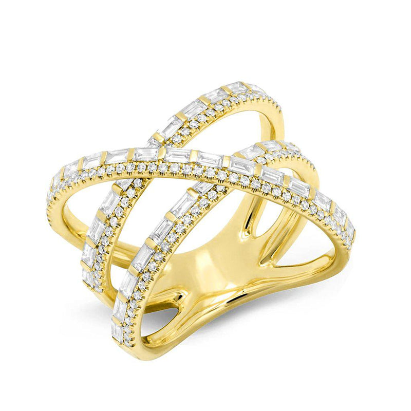 14KT Yellow Gold Diamond Baguette X Ring