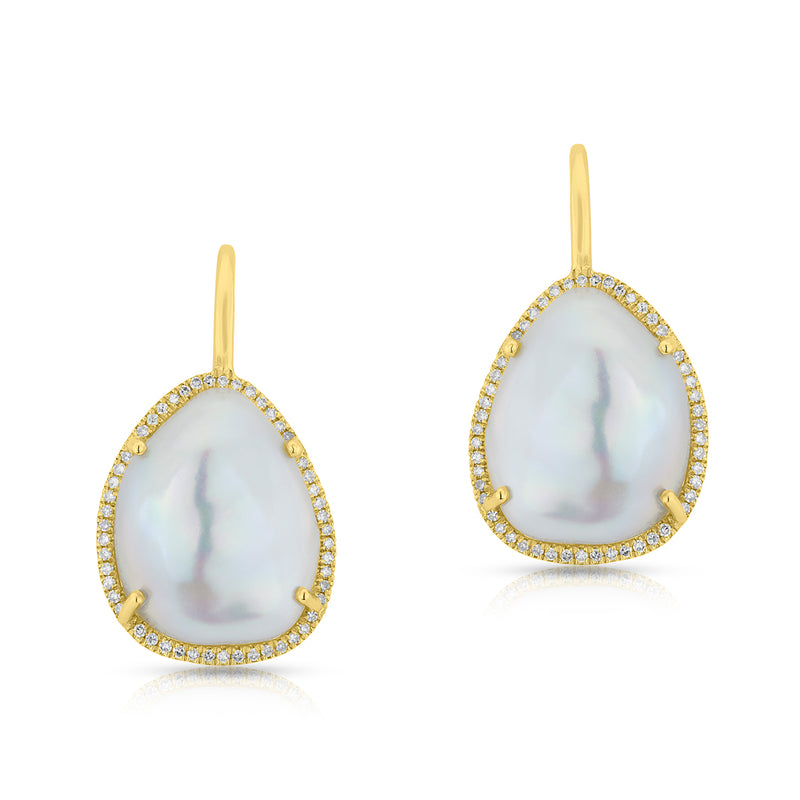 14KT Yellow Gold Pearl and Diamond Wireback Earrings