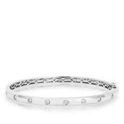 14KT White Gold Sparkle Full Diamond Bangle Bracelet