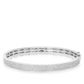 14KT White Gold Half Pave Diamond Bangle