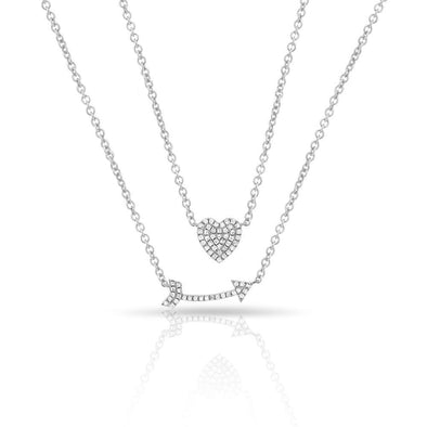 14KT White Gold Diamond Cupid's Bow Necklace