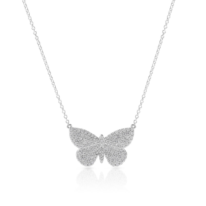 14KT White Gold Luxe Pave Diamond Butterfly Necklace