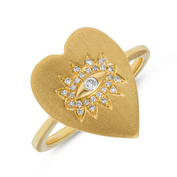 14KT Yellow Gold Diamond Evil Eye Heart Celestia Ring