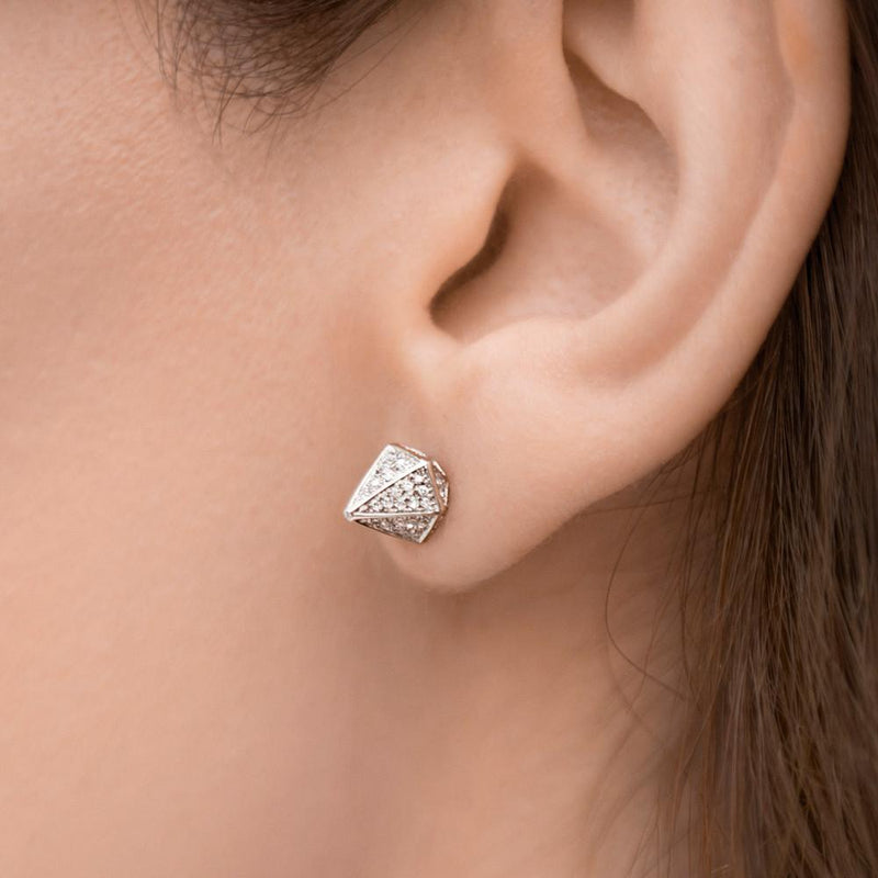 14KT Rose Gold Diamond Olympia Studs worn on ear