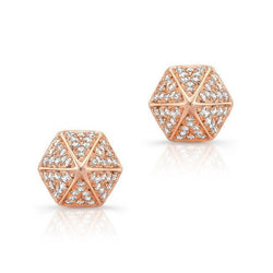 14KT Rose Gold Diamond Olympia Studs (close up)
