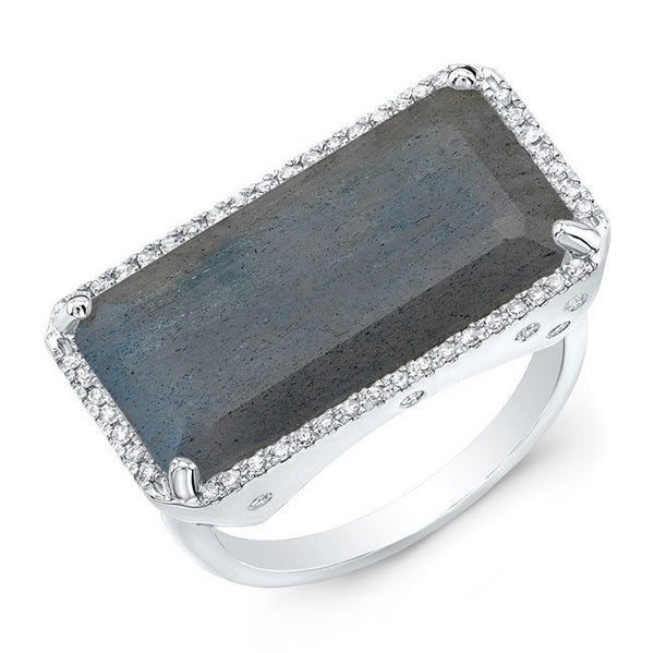 white gold diamond base labradorite ring