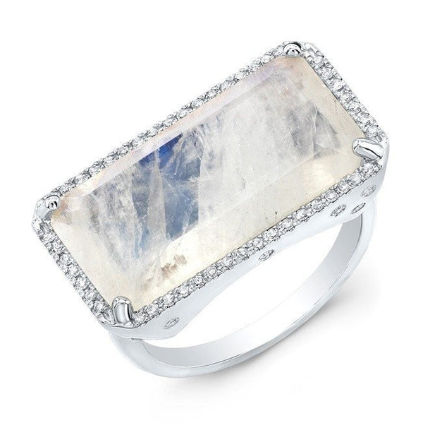 white gold diamond base moonstone ring