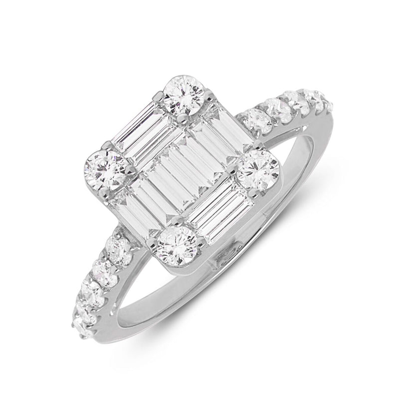 14KT White Gold Baguette Diamond Astor Ring