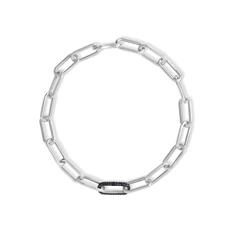 14KT White Gold Black Diamond Chain Link Bianco Bracelet