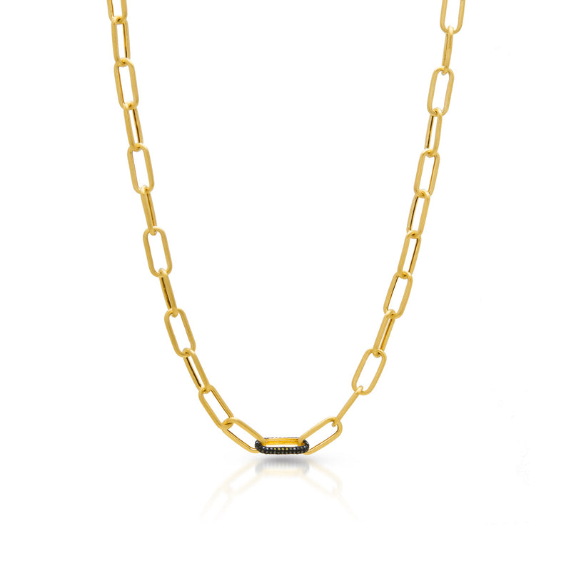 14KT Matte Yellow Gold Black Diamond Chain Link Bianco Necklace
