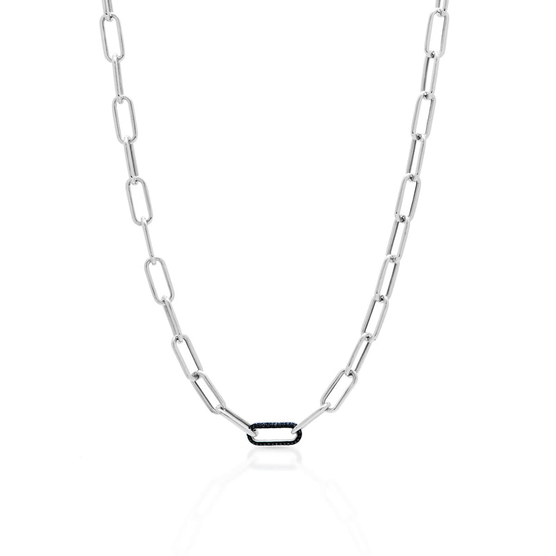 14KT White Gold Black Diamond Chain Link Bianco Necklace