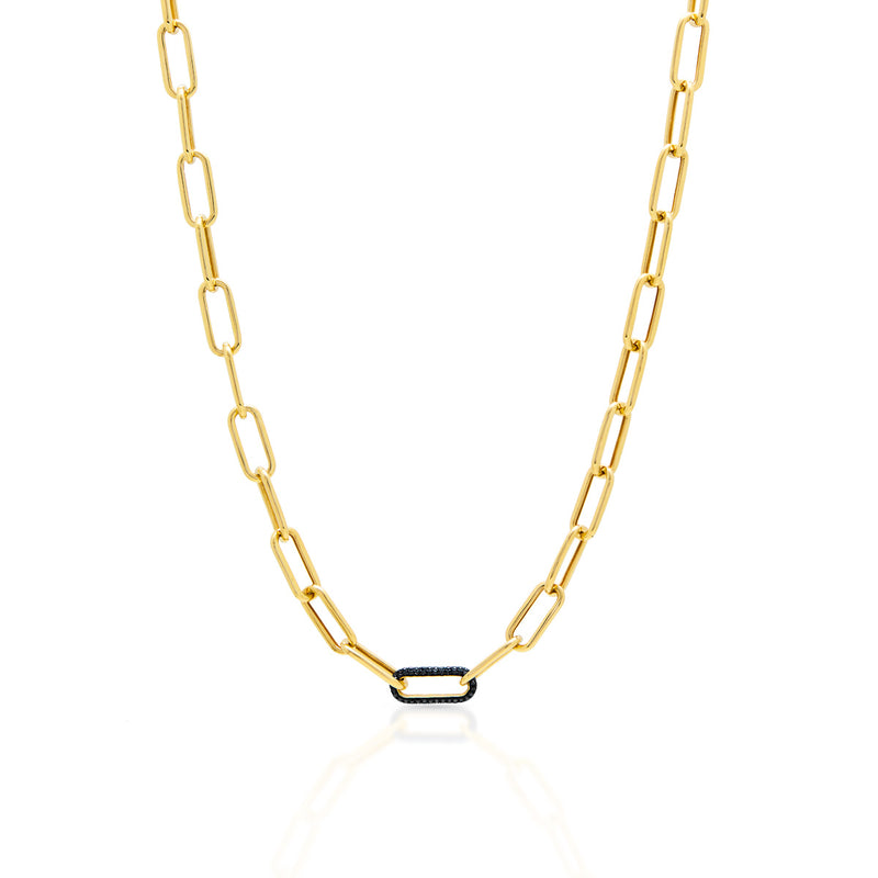 14KT Yellow Gold Black Diamond Chain Link Bianco Necklace