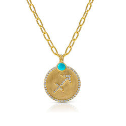 14KT Yellow Gold Diamond Zodiac Sagittarius Medallion Charm