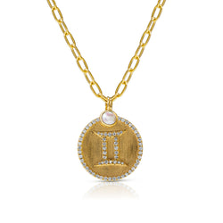 14KT Yellow Gold Diamond Zodiac Gemini Medallion Charm