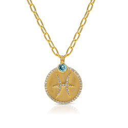 14KT Yellow Gold Diamond Zodiac Pisces Medallion Charm