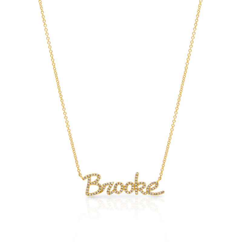 14KT Yellow Gold Diamond Personalized Name Necklace