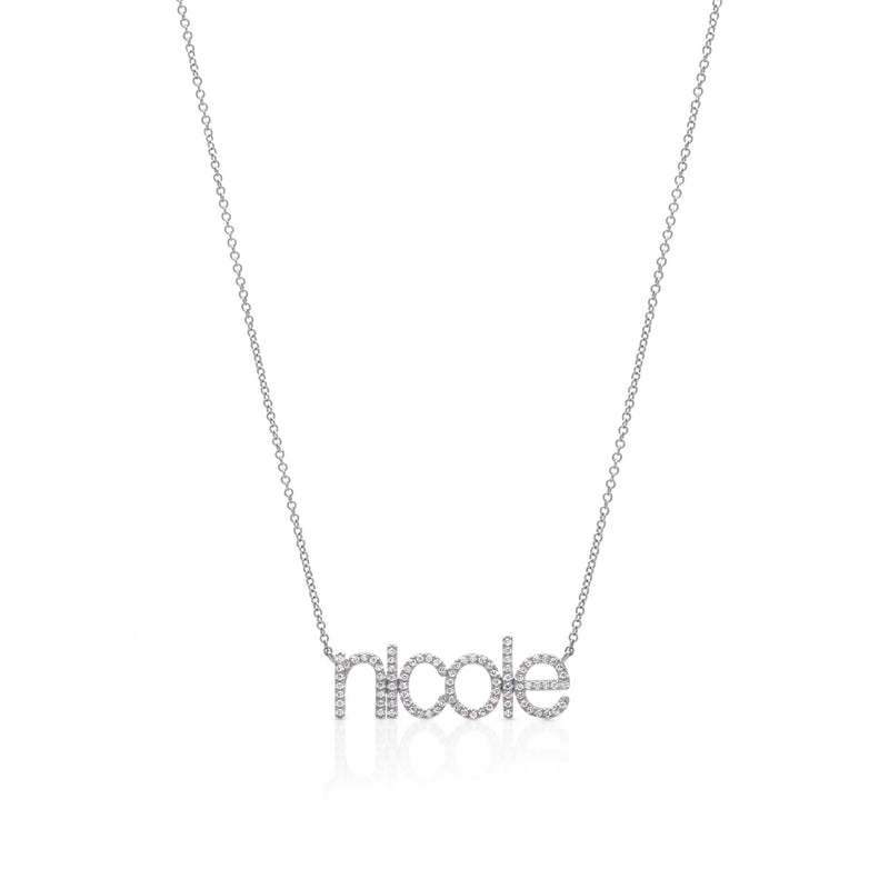 14KT White Gold Diamond Personalized Name Necklace