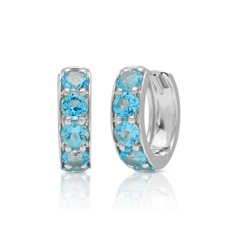 14KT White Gold Blue Topaz Huggie Earrings