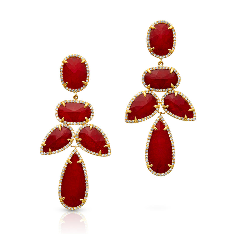 14KT Yellow Gold Ruby Triplet Diamond Bellissima Earrings