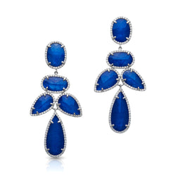 14KT White Gold Sapphire Triplet Diamond Bellissima Earrings