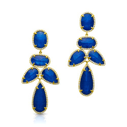 14KT Yellow Gold Sapphire Triplet Diamond Bellissima Earrings