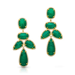 14KT Yellow Gold Emerald Triplet Diamond Bellissima Earrings