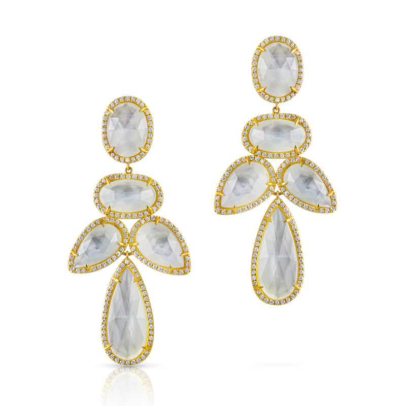 14KT Yellow Gold Mother of Pearl Doublet Diamond Bellissima Earrings
