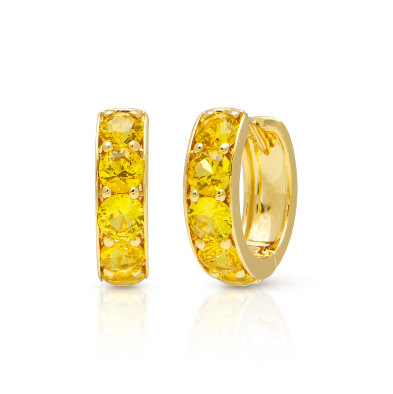 14KT Yellow Gold Yellow Sapphire Huggie Earrings