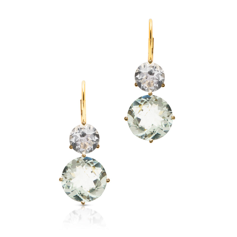 14KT Yellow Gold Topaz Green Amethyst Vita Earrings